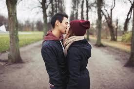 Teen kissing street funny