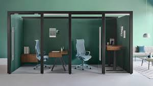 Office furniture designer Futuristic Two Enclosed Overlay Rooms With Cosm Chairs And Walnut Fixedheight Desk And Credenza Pinterest Herman Miller Modern Furniture For The Office And Home