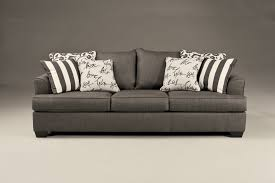 Levon Contemporary Charcoal Fabric Pillow Back Sofa