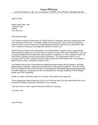 Clinical Research Cover Letter Sample