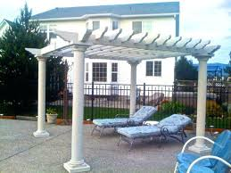 aluminum pergola most fascinating design white stained finish wooden posts crossbeams rafters battens backyard patio decoration