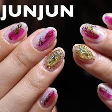 オールシーズンハンドピンクグレージェル Junjunのネイルデザイン