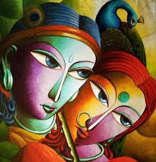 radha with krishna iii painting by artist dhananjay mukherjee acrylic canvas
