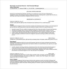 Small Business Owner Resume Sample 22 Resume Template Business Manager  Template 11 Free Word Excel Pdf Format Manager