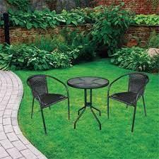 bistro wicker 3 piece patio group