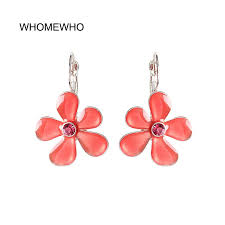 Silver Metal Candy Neon Pink Resin Flower Clip Earring 2019 <b>New</b> ...
