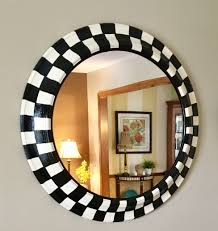 custom made whimsical painted round mirror black and white checd mirror 30 inch round