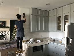 everything was done by us except for the floors we had them refinished the drywall and the countertops they were installed by the home depot