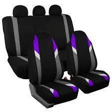 3 row highback car seat cover set for suv minivan purple with 7 headrests 1