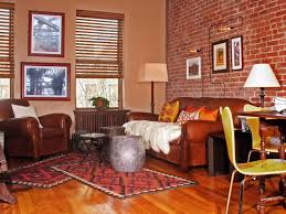 the brick living room furniture. House Red Brick Wall Tiles For Living Room Design Ideas Using Brown Leather Sofa With Exquisite Interior Wa The Furniture A