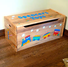 personalized wood toy box natural