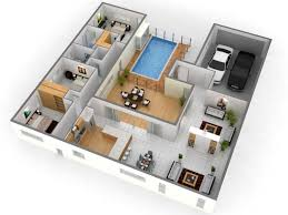 3 bedroom home design plans. Home Plan 3d Design Lofty Inspiration 13 Single Floor Plans 3 Bedroom House Photos N