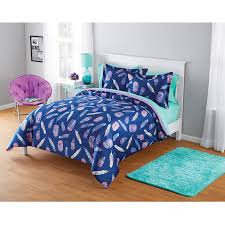 Your Zone Micromink Inky Feather Comforter Set Walmart Com