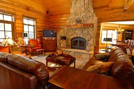 Sage Creek Canyon Hybrid Log Home Rustic Living Room Denver