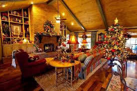 Allluring French Country Christmas Decorating Ideas For Living Rooms With  Wooden Sloping Ceiling And Red Wing Back Chair Also Exposed Brick Wall