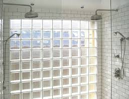Glass Block Window In Shower shower idea subway tile with dark grout glass panels glass 7927 by xevi.us