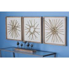 3 piece modern abstract gold finished iron accents metal wall decor