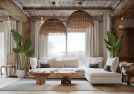 lighting a large room. Greek Inspired Furniture. Living Room Brown Natural Wooden Table Bamboo Lighting Large Ferns Style A