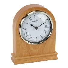 wm widdop arched light wood mantel clock