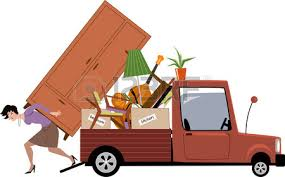 Woman In Process Relocation Loading Furniture A Pick up