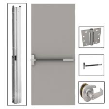 L.I.F Industries 36 in. x 80 in. Flush Gray Steel Commercial Door ...
