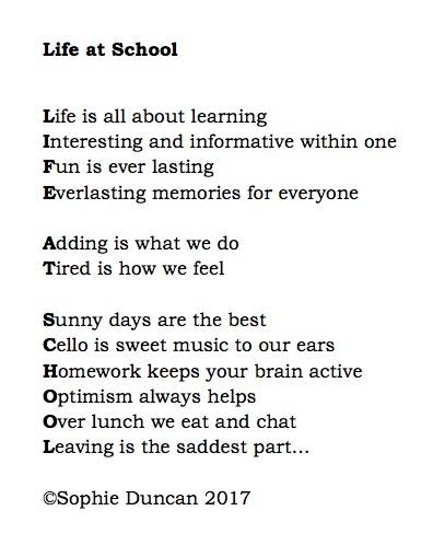 school life is the best life poems