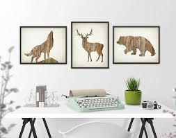 lodge wall decor elegant deer wolf bear wall art print set of 3 wood hunting lodge