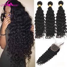 Ali Coco <b>Brazilian Deep Wave 100</b>% Human Hair Weave 4 Bundles ...