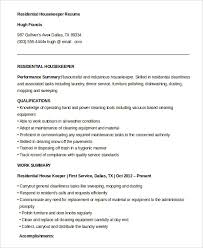 Another Word For Cleaner On Resume Housekeeping Resume Example 9 Free Word Pdf Documents Download