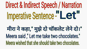 Direct And Indirect Speech Narration Let Imperative Sentence In English Grammar In Hindi