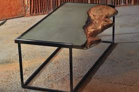 coffee table steel frame concrete slab with wooden insert oak wood