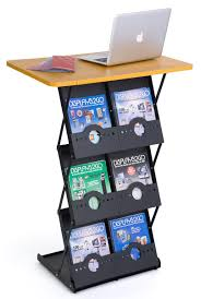 Portable Literature Display Stands Folding Magazine Rack with Tabletop 100 Literature Pockets 2