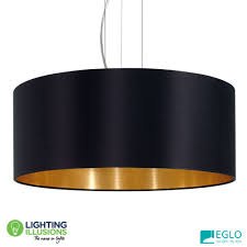 large 3 light eglo maserlo black and gold fabric pendant light