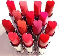 heart shaped lipstick makeup and red