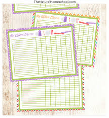 Toddler Kitchen Chore Charts Printable Set The Natural