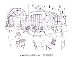Monochrome Rough Sketch European Outdoor Sidewalk Stock Vector 2018