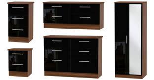 bedroom furniture black gloss. knightsbridge high gloss black and noche walnut bedroom furniture s