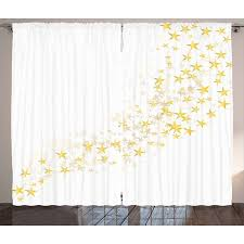 Yellow and White Curtains 2 Panels Set, Yellow Stars Flowing Over ...