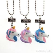 whole new unicorn necklace best friends forever pendant necklaces kids f jewelry resin colored 3d unicorn necklaces chain plated white gold mens