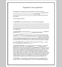 Equipment Lease Agreement Form : Sample Forms