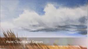 how to paint clouds sky and swaying grass in watercolor simple easy and fun peter sheeler you