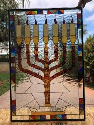 menorah stained glass window panel 22 x 30 in