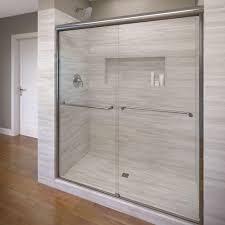 semi frameless single shower doors 2. Basco Celesta 48 In. X 71-1/4 Semi-Frameless Sliding Shower Door In Silver With Clear Glass-A0583-48CLSV - The Home Depot Semi Frameless Single Doors 2