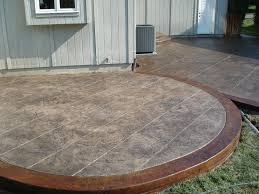 concrete patio ideas with colored stamped