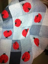 96 best LADYBUG QUILT images on Pinterest | Kid quilts, Cake smash ... & Lady bug stipple quilt recycled from old jeans. check out  mamajillof2crafts.blogspot.com Adamdwight.com
