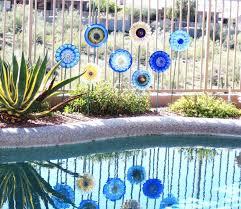 flower yard decorations unique garden art glass plate flower decor upcycled glassware of flower yard