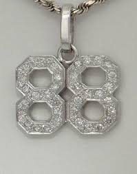 details about mens 14k white gold 1 1 2ct diamond 88 sports jersey number pendant charm 1 32