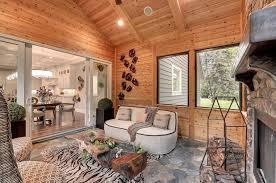 sunroom lighting ideas. Sunroom Ideas Rustic With Recessed Lighting Built-in Speakers Flagstone Flooring