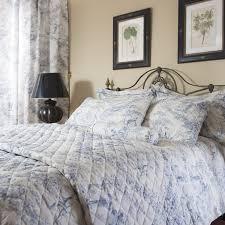 toile de jouy vintage 100 cotton duvet cover blue hover to zoom