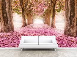 Tunnel Van Roze Bloem Bomen Foto Behang Verwisselbare Wand Etsy